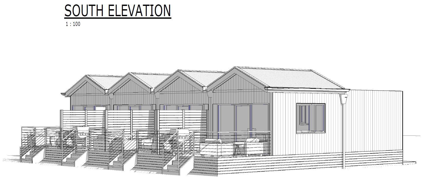 Perspective drawing of the new cabins
