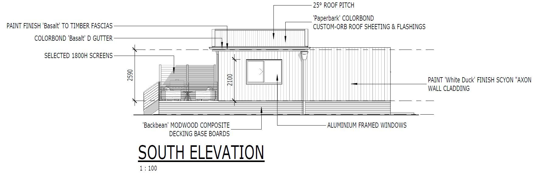 South elevation of the new cabins