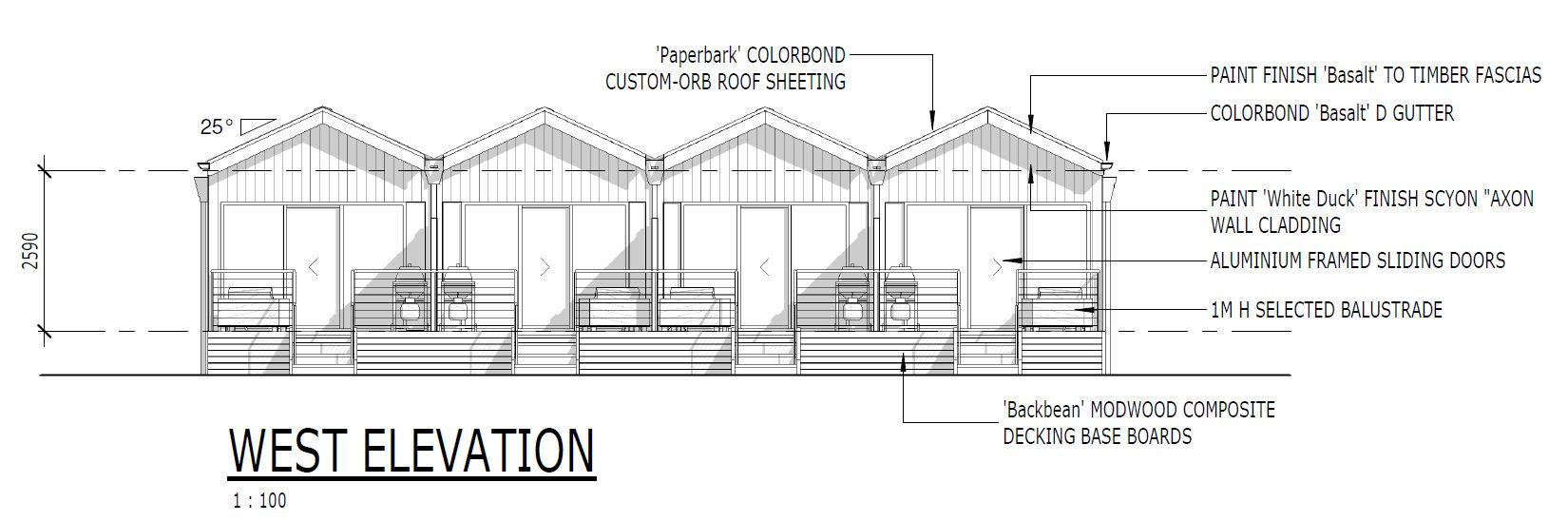 West elevation of the new cabins